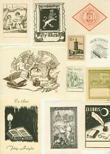 52 Ex libris Art Deco and oders style with book Exlibris by V. artist / Europe