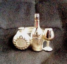Napkin Rings, Wine Bottles & Glass Design, Silver Plated Metal, Set Of 4