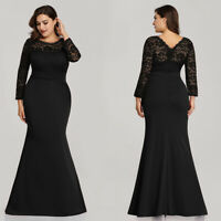 Ever-pretty US Black Formal Mother Of Bride Dress Plus Size Mermaid Evening Gown