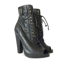 NEW GIVENCHY Lace-Up Peep Toe Leather Booties - Black - Size 38.5