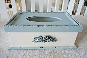 Hülle Husse Tissue-Box für Kosmetiktücher Stoff grau créme Vichy Punkte Borte