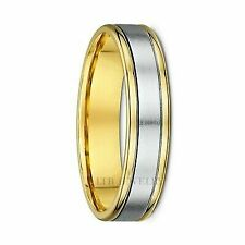 Mens 14k Two Tone Gold Wedding Band Hammered Ring 5mm