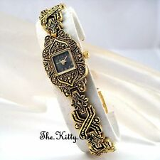 Gold Plated Case Women's Adult Square Wristwatches