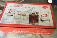 Coca Cola 6pc Ice Tub & On the Rocks Glass Set from the 1970's