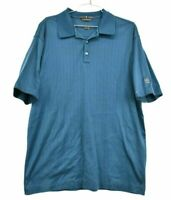 Nike Tiger Woods Mens Medium Blue Short Sleeve Double Mercerized Golf Polo Shirt
