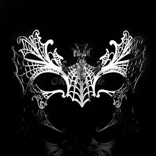 Luxury Spider-Web Metal Venetian Masquerade Mask for Women M7148 [Silver]