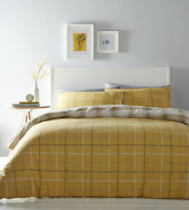 Ochre Mustard Duvet Covers Skye Tartan Check Reversible Duvet Quilt Cover Set