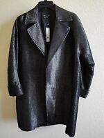 *NWT* Theory Clarania Black Metallic Threaded Wool Blend Coat - MED - MSRP $490