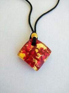 Vetro Di Murano Red & Gold Glass Pendant Necklace Black Cord Gold Clasp