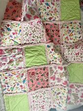 Pink Floral Hearts Butterflies Rag Quilt - Baby Blanket 36 x 36 inches