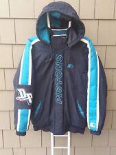 Vtg Detroit Pistons NBA Starter Nylon Insulated Full Zip Black Coat Jacket Small