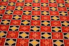 Japanese Wool Fabric Red, Pink, Yellow and Black Geometric Design 1021r
