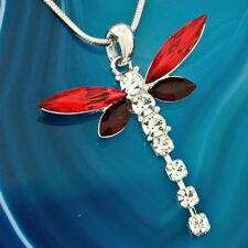 """DRAGONFLY Made With Swarovski Crystal Red Wings Charm Pendant Necklace 18"""" Chain"""