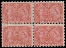 CANADA #53 3¢ Jubilee, Block of 4, og, NH, F/VF+, Scott $300.00