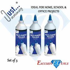 3 x 500ml White PVA Glue Paper Art & Craft Home Office School Multi Purpose Use