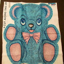 Vtg 70s Teddy Bear BLUE fabric panel Pink Bow cuddle pillow cut n sew