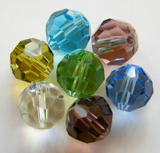 50pcs 10mm Faceted Round Crystal Beads - Mixed