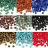 50 Miyuki Tila 2 Hole Square Glass Beads 5MM Opaque Picasso Iris & Matte Colors