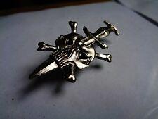 Skull Dagger Pin Classic American Biker Club Badge Vintage Rat Rod Army Death