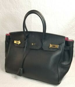 AINIFEEL Black Leather Satchel Handbag