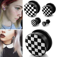 Pair Acrylic Double Screw Fit Logo Black/White Checkered Ear Plugs Gauges 6G-3/4