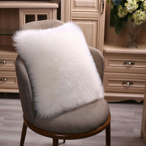 Faux Sheepskin Pillow Cover Case Fluffy Plush Sofa Throw Fur Cushion Covers