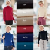 WOMENS LADIES LONG SLEEVE POLO NECK TOP TURTLE NECK TOP JUMPER SIZES 8-26