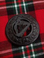 TC Men's Kilt Fly Plaid Irish Harp Brooches Jet Black/Plaid Brooches Celtic Harp