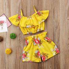 2pcs Kids Baby Girl Summer Clothes Tank Crop Top Vest + Shorts Pants Outfits Set