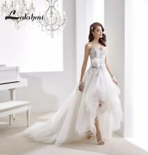 High Low Appliques Organza Short Beach Wedding Dress White/Ivory New Bridal Gown