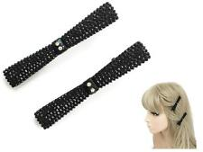 2 Vintage Black Jet Look Bow Facetted Hair Slides Grips Beak Clip with Diamante
