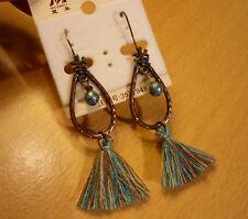 Koperkleurige druppel oorbellen met turquoise bruin beige tassel slinger  NIEUW