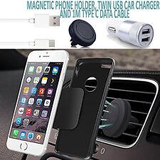 Magnétique Aération Voiture Téléphone Support + Double En Chargeur + USB Argent