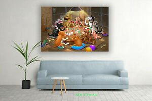 Dogs Playing Poker V2 CANVAS PRINT, ROLLED,STRETCHED or FLOATING FRAME art decor