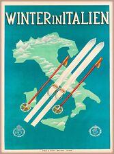 Winter in Italien Italy Vintage Europe Travel Advertisement Art Poster Print