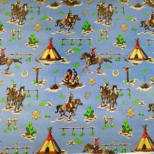 Clarke and Clarke Cowboys blue wild west PVC Oilcloth Per Metre