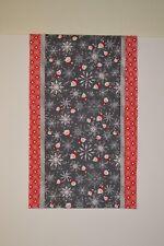 """Christmas Santa Table Runner Dresser Scarf New Handmade 13.5"""" x 41.5"""" - red gray"""