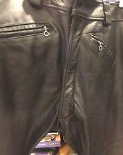 Vintage Black Leather Pants 3 Zipper Pockets Fine Quality Preowned Length 29�