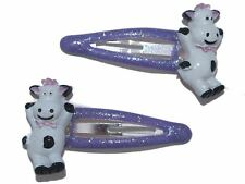 Girl Lilac Cow Hair Clips Slides Bendies Sleepies Snap Clips Hair Accessories