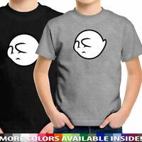 Shy Hiding Boo Ghost Cartoon Mario Unisex Youth Kids Children Tee Top Boy Gift