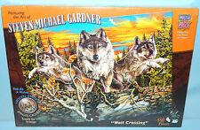 New MasterPieces Wolf Crossing 550 Pc Puzzle Steven Michael Gardner Hidden Image