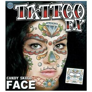 Skull Day of the Dead Dia De Los Muertos Face Temporary Tattoo Tinsley Costume