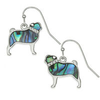 Pug Earrings Paua Abalone Shell Dog Womens Silver Fashion Jewellery Gift Boxed