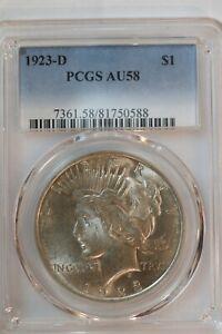 ☃️ 1923-D PCGS AU58 Peace Dollar - L9H20
