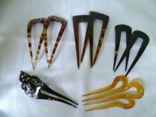 COLLECTION  OF 8 VINTAGE FAUX  TORTOISE SHELL  HAIR  COMBS - 3  PAIRS + 2 SINGLE