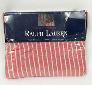 Ralph Lauren TWIN Size FLAT Sheet 100% Cotton Red White Stripe Chambray NEW 90s