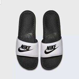 Nike Benassi JDI Slide White and Black 343880-100 Size mens 10 Slippers Sandals