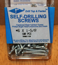 PhilStone Self Drilling Screws –Phillips Bugle Head Zinc Pack of 100 - #6 x 1-⅝""