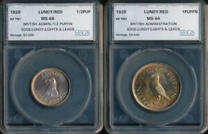 1929 LUNDY ½ and 1 PUFFIN (X#TN1 & TN2) SEGS DAZZLING RED BEAUTIES > NO RESERVE