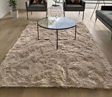 5'x7' Feet Beige Color Animal Hide Animal Skin Sheepskin Area Rug Carpet Solid